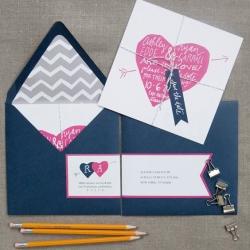 Pink Navy Wedding Invitations