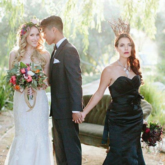 Maleficent Wedding Inspiration,Boat Neck Sheath Wedding Dress