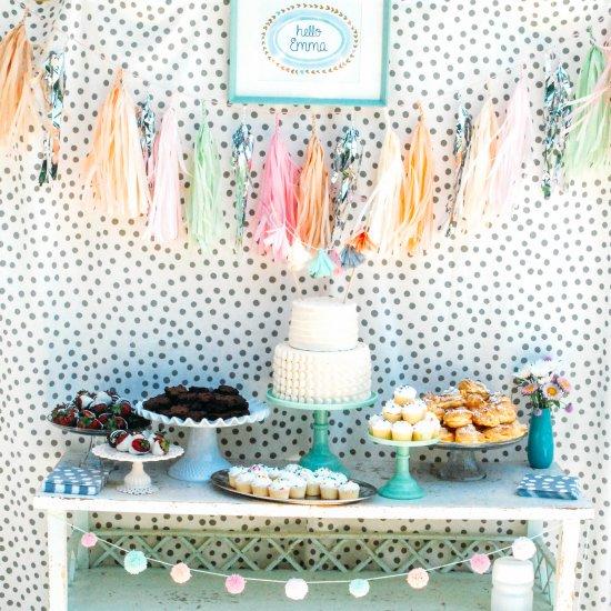 polka dots and pastel bridal shower